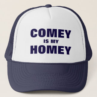 Comey Is My Homey Current Event Quote Blue Text Trucker Hat