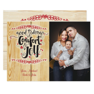 Comfort and Joy Christmas Photo Card Template