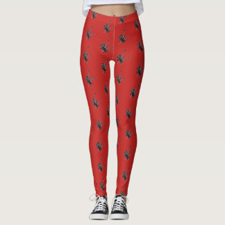 Comfy Hipster Leggins with voodoo dolls on red Leggings