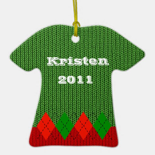 Comfy Red Argyle Sweater Ornament