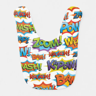 Comic Action Word Bib
