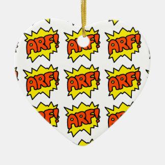 Comic 'Arf!' Ceramic Heart Decoration