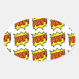 Comic 'Arf!' Oval Sticker