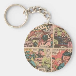 comic basic round button key ring