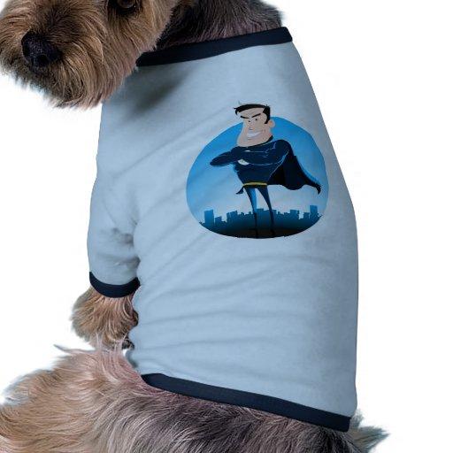 Comic Blue Superhero Doggie Tee Shirt