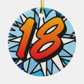 Comic Book 18 and HAPPY BIRTHDAY Blue Christmas Ornament