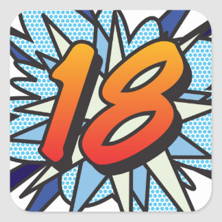 Comic Book 18 Blue Square Sticker