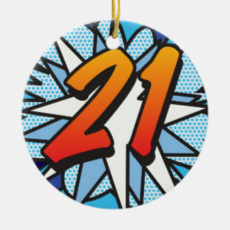 Comic Book 21 and HAPPY BIRTHDAY Blue Round Ceramic Decoration