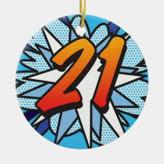 Comic Book 21 Blue Round Ceramic Decoration
