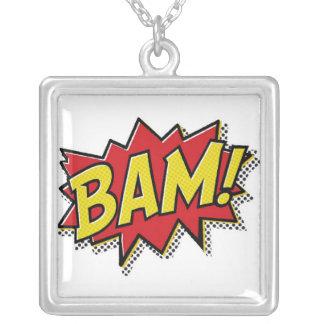comic book bam! neckless square pendant necklace