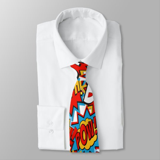 Comic Book Bam Pow Action Words Tie