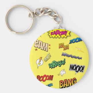 Comic Book Basic Round Button Key Ring
