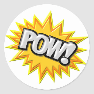 Comic Book Burst Pow 3D Round Sticker