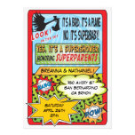Comic Book Couples Baby Shower Invitations