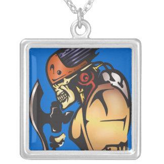Comic Book Cyborg Skull Warrior Square Pendant Necklace