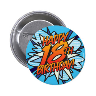 Comic Book HAPPY 18TH BIRTHDAY blue 6 Cm Round Badge