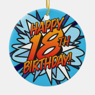 Comic Book HAPPY 18TH BIRTHDAY! blue Christmas Ornament