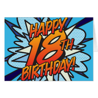 Comic Book HAPPY 18TH BIRTHDAY! blue Greeting Card