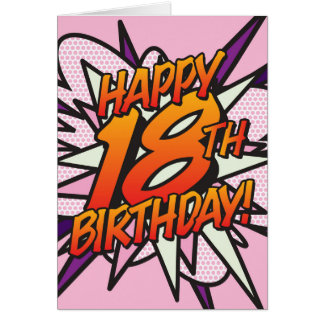 Comic Book HAPPY 18TH BIRTHDAY! pink Card