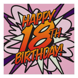 Comic Book HAPPY 18TH BIRTHDAY! pink Poster