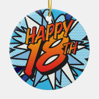 Comic Book HAPPY 18TH Christmas Ornament