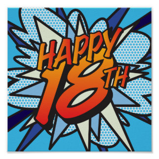 Comic Book HAPPY 18TH Poster