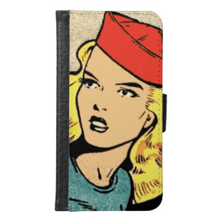 Comic Book Heroine in a Red Hat Samsung Galaxy S6 Wallet Case