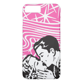 Comic Book Kiss Style Pop Art In Pink Black White iPhone 7 Plus Case