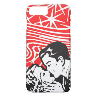 Comic Book Kiss Style Pop Art In Red, Black, White iPhone 7 Plus Case