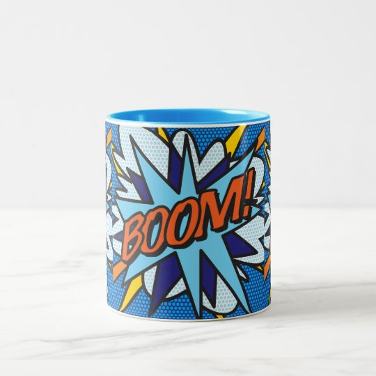 Comic Book Pop Art BOOM! Two-Tone Coffee Mug