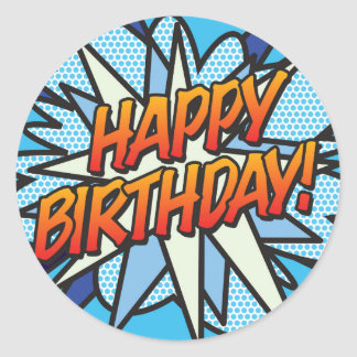 Comic Book Pop Art HAPPY BIRTHDAY Round Sticker