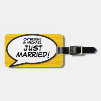 Comic Book Pop Art JUST MARRIED Luggage Tag