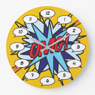 Comic Book Pop Art OMG IS THAT THE TIME Large Clock