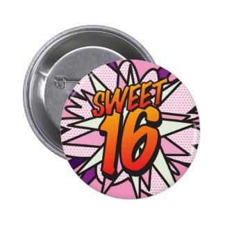Comic Book Pop Art Pink SWEET 16 BIRTHDAY 6 Cm Round Badge
