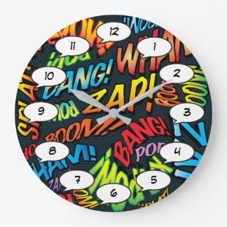 Comic Book Pop Art Sounds Large Clock