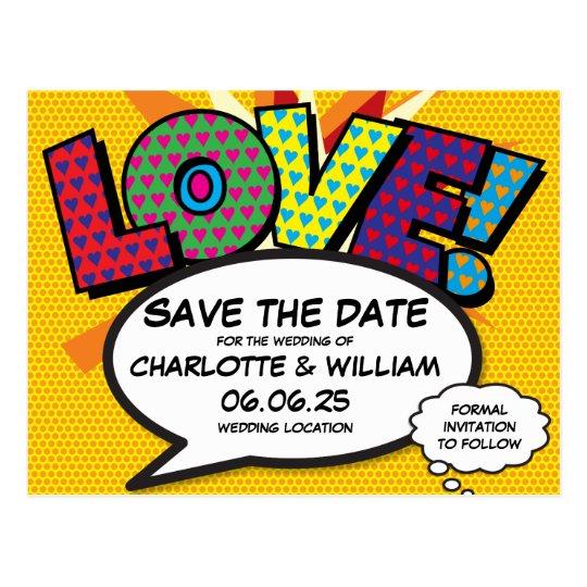 Comic Book Pop Art Wedding Love Save the