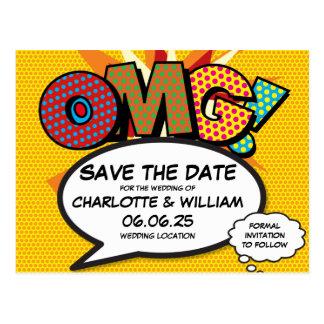 Comic Book Pop Art Wedding OMG Save the Date Postcard