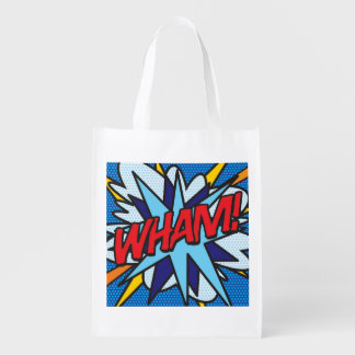 Comic Book Pop Art WHAM! POW! Reusable Grocery Bag