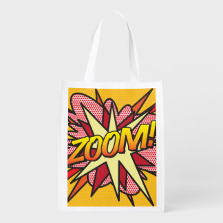 Comic Book Pop Art ZOOM! Reusable Grocery Bag
