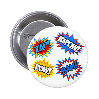 Comic Book Pow! Bursts Pinback Button