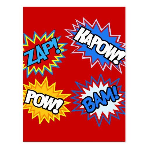 Comic Book Pow! Bursts Post Card