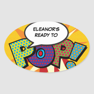 Comic Book Ready to POP! Baby Shower Oval Sticker
