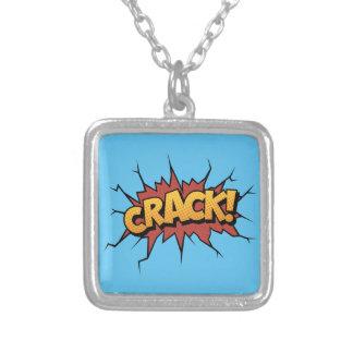 Comic Book Sound Effect - Crack! Pop Art Square Pendant Necklace