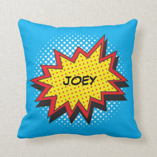 Comic Book Style Colorful Custom Name Throw Pillow
