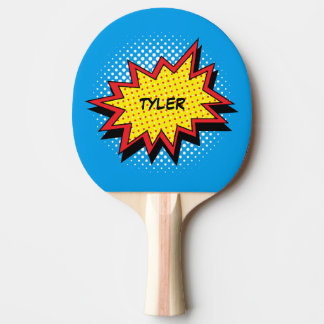 Comic Book Style Colorful Name Ping Pong Paddle