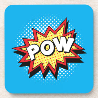 Comic Book Style Colorful POW Beverage Coasters