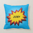 Comic Book Style Colourful Custom Name Cushion