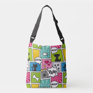 Comic Book Style Pet Pattern Crossbody Bag