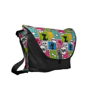 Comic Book Style Pet Pattern Messenger Bags