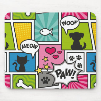 Comic Book Style Pet Pattern Mouse Mat